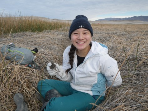 Amanda Poulsen, a graduate student from UC Davis and CDFW volunteer, with an Amargosa vole (Microtus californicus scirpensis) after recording demographic data and applying a numbered ear tag.