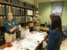 Dr. Anne Ballmann from the USGS demonstrates proper sampling techniques for laboratory analysis of Pd. From: Andrew DiSalvo, WIL.